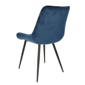 Orville velvet eetkamerstoel Lisboa blauw