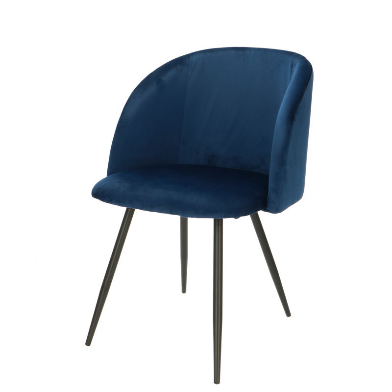 Orville velvet eetkamerstoel Vesper blauw