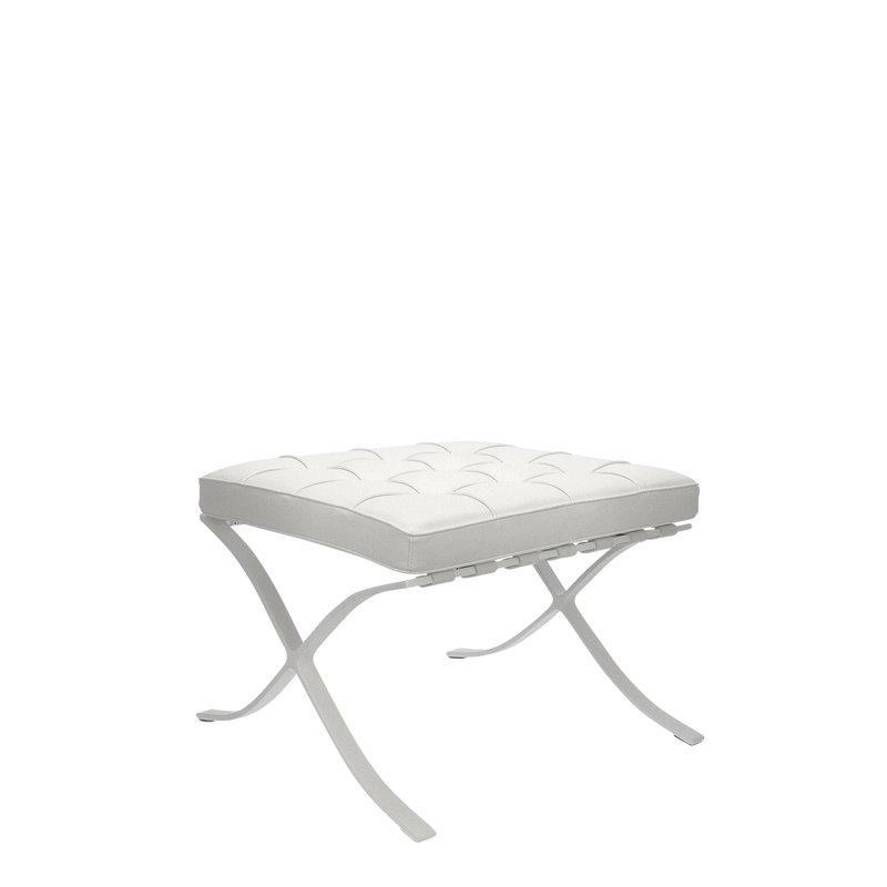 Barcelona Chair Barcelona Chair Ottoman Premium All White