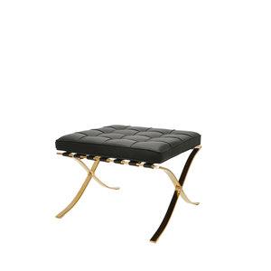 Barcelona Chair Ottoman Premium Zwart / Goud