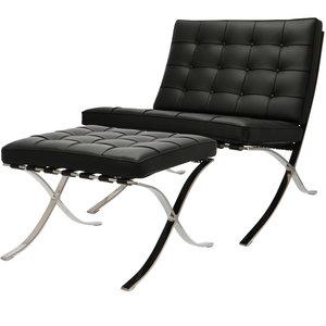 Pavilion chair Premium Zwart met ottoman