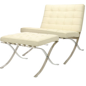 Pavilion chair Premium Creme met ottoman