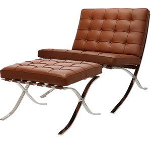 Pavilion chair Premium Cognac met ottoman