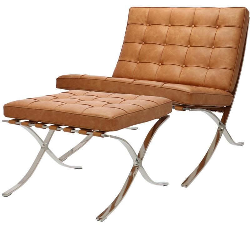 Pavilion chair Pavilion chair Premium vintage cognac met ottoman