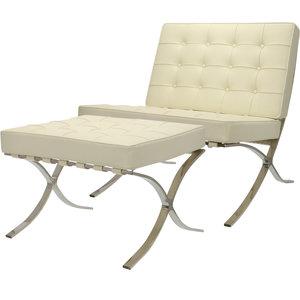 Pavilion chair Creme met ottoman