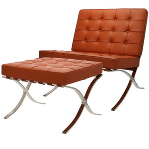 Pavilion chair Cognac met ottoman