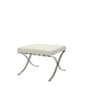 Barcelona Chair Ottoman Premium Weiß