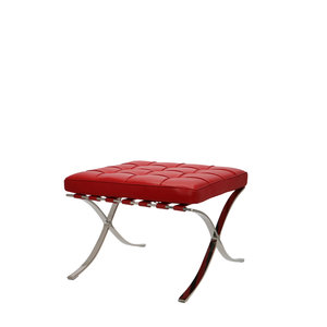 Barcelona Chair Ottoman Premium Red