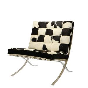 Barcelona Chair Kuhfell Schwarz/Crème