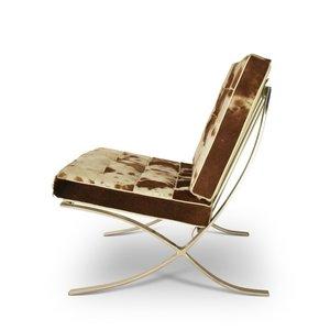 Barcelona chair Chaise Barcelona Cuir De Vachette Marron/Crème
