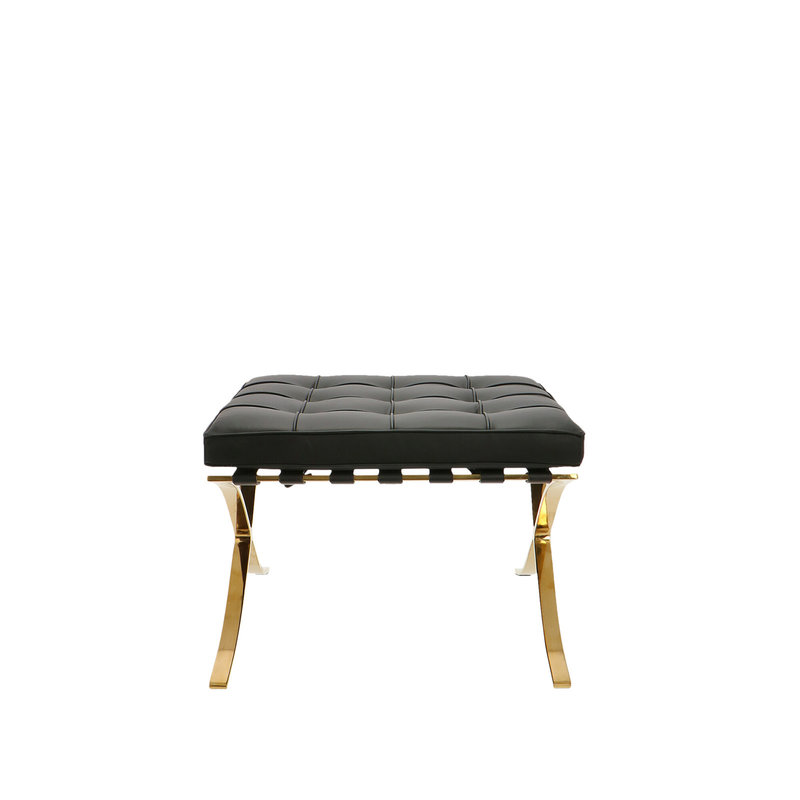 Barcelona chair Barcelona Chair Ottoman Premium Gold Edition Black
