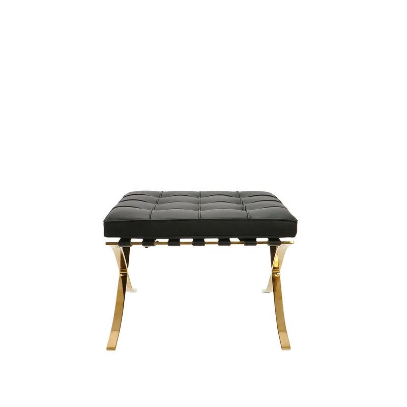 Barcelona chair Barcelona Stol Ottoman Premium Gold Edition Sort