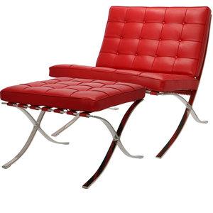 Pavilion Fåtölj Premium Röd & Ottoman