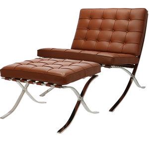 Pavilion Chair Premium Cognac & Ottoman