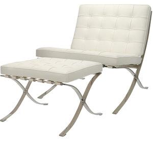Chaise Pavilion Premium Blanc & Ottoman