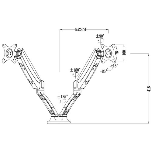 Flowork Screen-Up! Double monitorarm