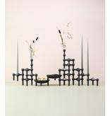 Stoff Nagel Candle Holder Black Set 3 pcs.