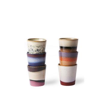 HK Living Ceramic 70's Mugs Blue/Red 6 pcs.