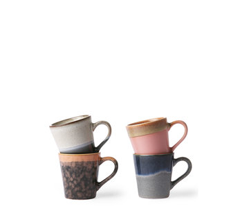 HK Living Ceramic 70's Espresso Mugs 4 pcs.