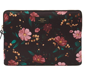 "Wouf Technical Canvas Laptop 13"" Black Flowers"