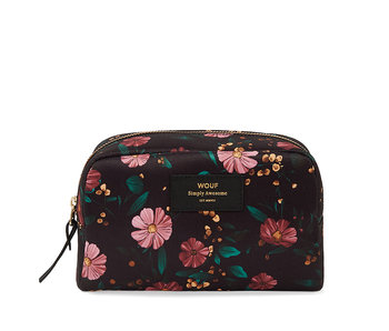 Wouf Large Beauty Bag Black flowers