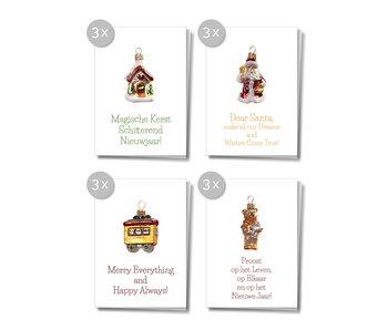 Matriks Kerst/ Nieuwjaarskaarten met Envelop 12 pcs.