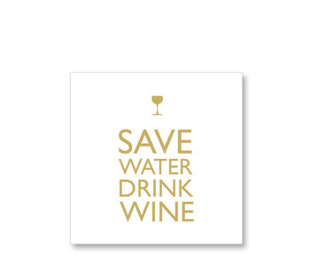 PPD Paper Napkins Save Water Drink Wine Gold 33/33