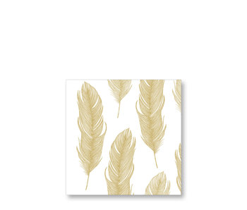 PPD Cocktail Napkins Elegant Feather Gold 25/25