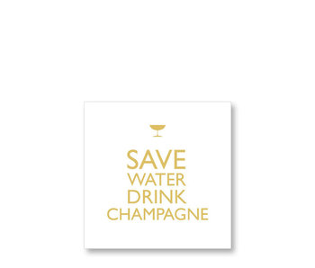PPD Cocktail Napkins Save Water Drink Champagne Gold 25/25