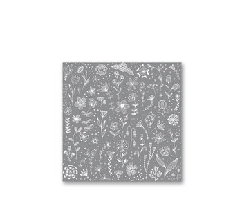 PPD Paper Napkins Pure Flower Grey 33/33