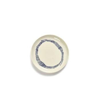 Serax Feast Bord Wit Swirl-Stripes Blauw 19 cm