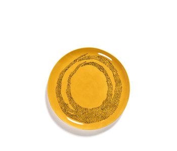 Serax Feast Bord Sunny Yellow Swirl-Dots Zwart 26 cm
