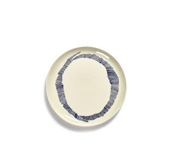 Serax Feast Bord Wit Swirl-Stripes Blauw 26 cm