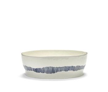 Serax Feast Salade kom Wit swirl-stripes blauw 44 cm
