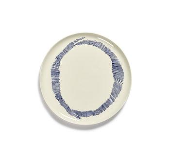 Serax Feast Serveerbord Wit Swirl-Stripes Blauw 35 cm