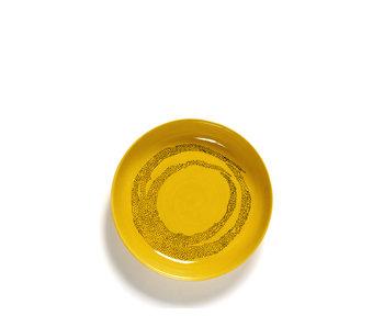 Serax Feast Hoog Bord Sunny Yellow Swirl Dots Zwart 22 cm