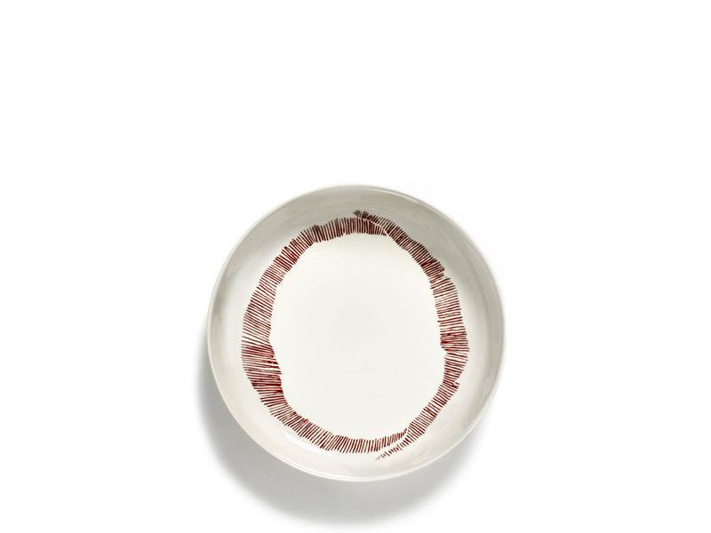 Serax Feast Hoog Bord Wit Swirl Stripes rood 22 cm