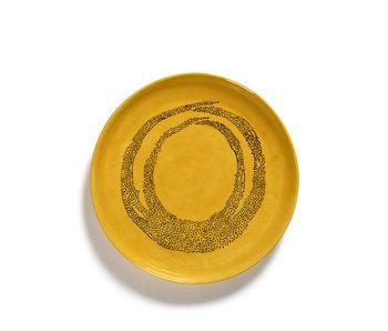Serax Feast Serveerschaal Sunny Yellow Swirl Dots Zwart M 34 cm