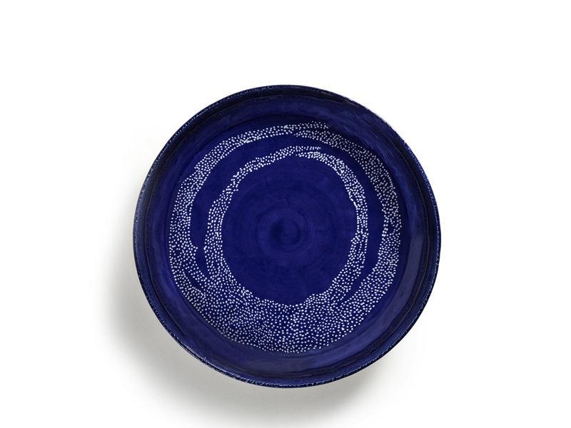 Serax Feast Serveerschaal Lapis Lazuli Swirl Dots Wit L 35 cm