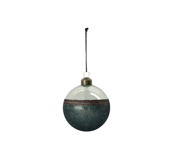 House Doctor Glass Bauble Stripe Green