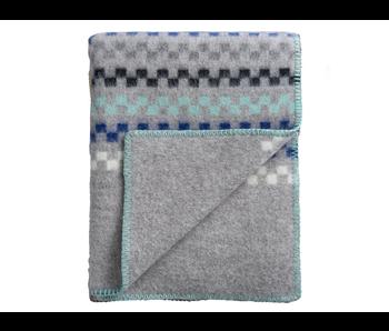 Roros Tweed Toskaft Plaid Grey Turquoise 135/200