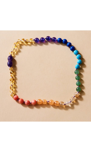 Amber Necklace - Rainbow Glory 32 cm