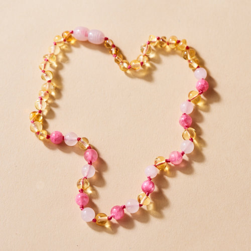 Moonsisters Amber Necklace - Sunny Rose 32 cm