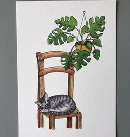 Drawingplantlady Drawingplantlady - kat met Monstera