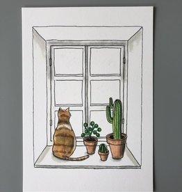 Drawingplantlady Drawingplantlady - Kaart kat vensterbank