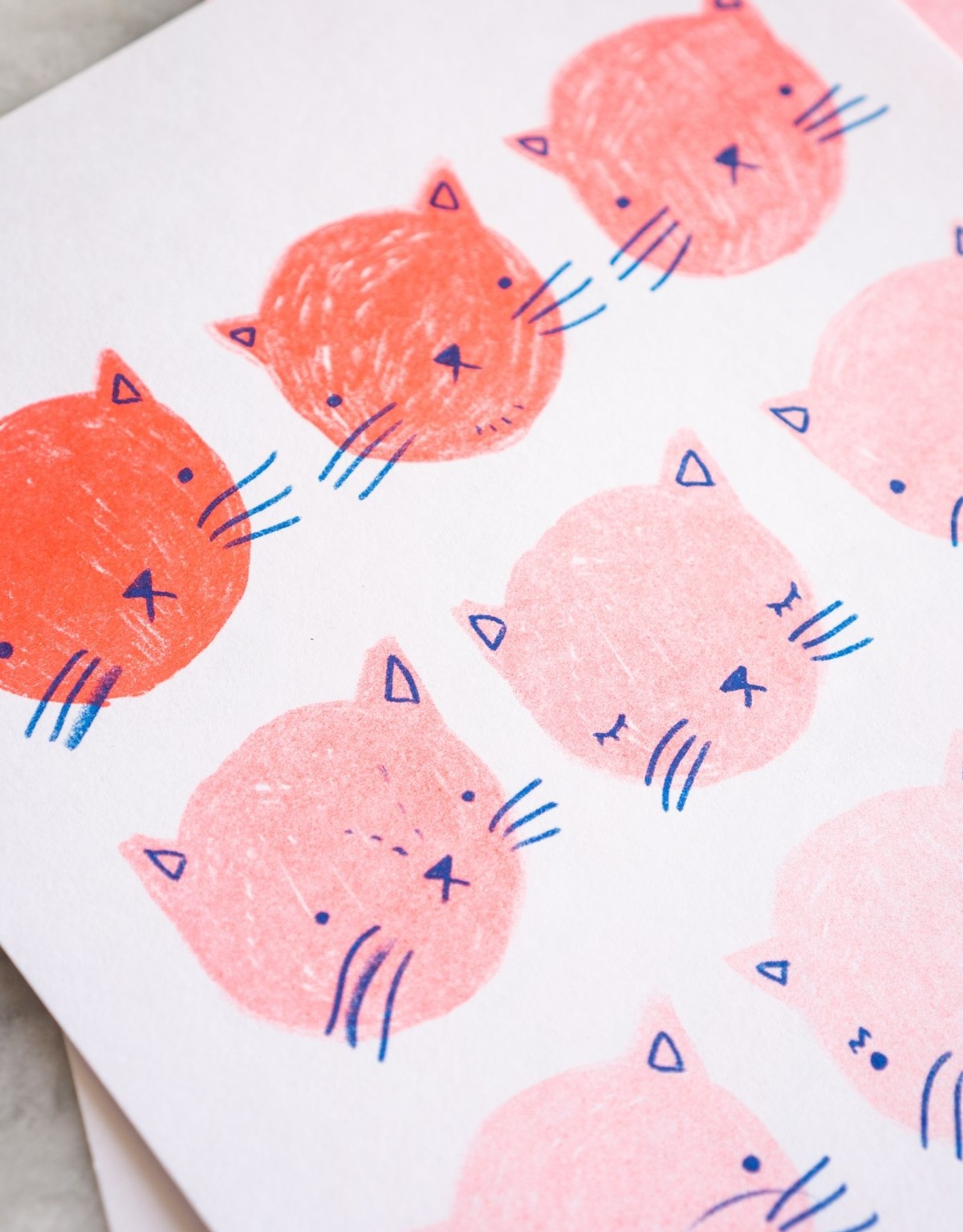 Stay Home Club Stay Home Club Fading cat Riso print - Poster