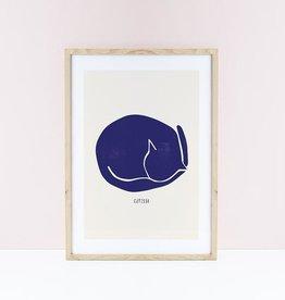 Niaski Niaski  Catisse blauwe kat print - Sleeping Cat
