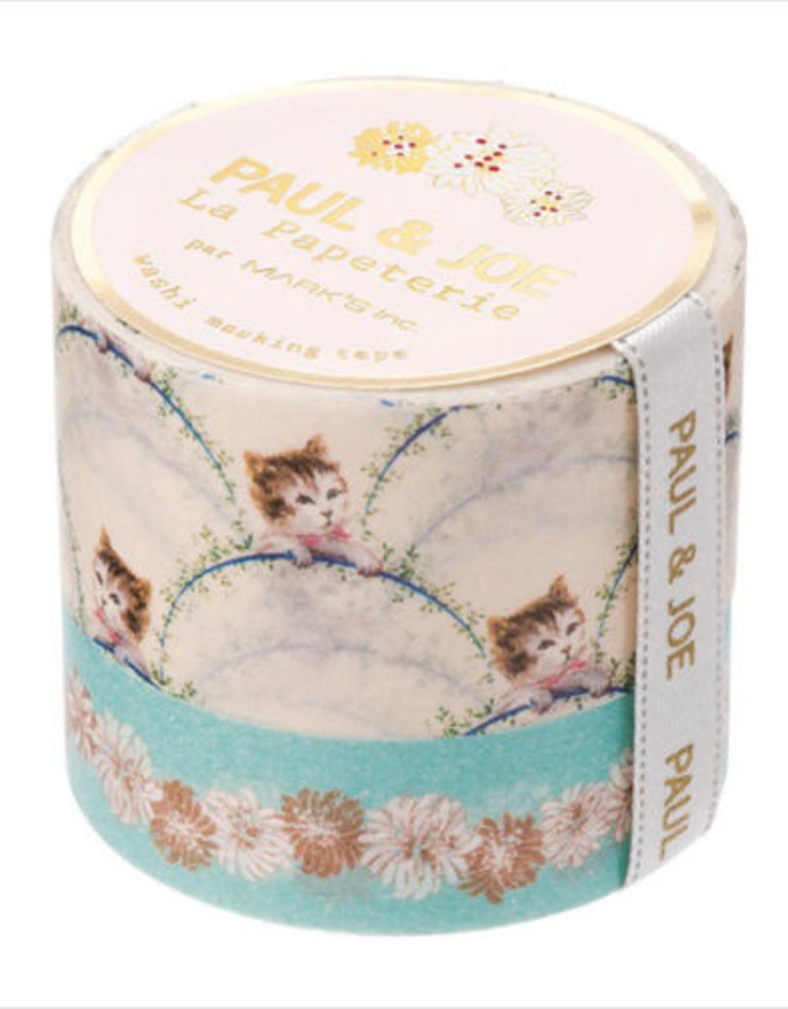 Paul & Joe Paul & Joe Masking tape - I - Blauw bloemen Beige kat