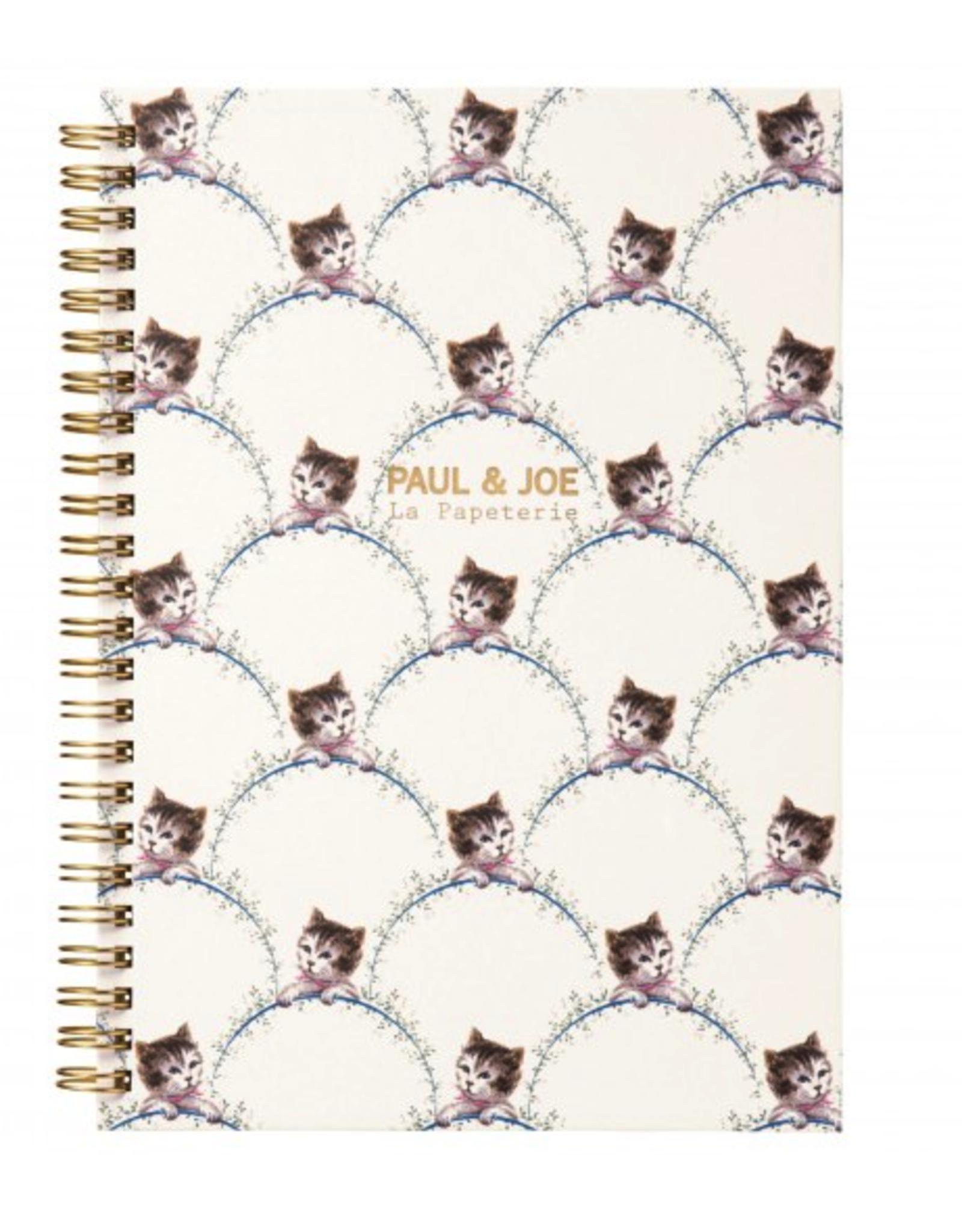 Paul & Joe PAUL & JOE - Spiraal Notebook A5 - Bladeren getekend kattenhoofd