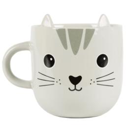 Sass & Belle Sass & Belle - Cat Kawaii - Mug -Grijs